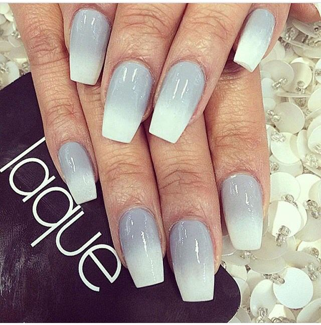 Grey And White Ombre Squoval Nails Bride Nails Ombre Nails