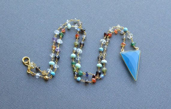 Gem Drops Necklace Blue Chalcedony Triangle Pendant by AlaskaDaisy
