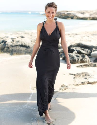 fb1b92b12f003 Maxi Twist Strap Beach Dress by Bravissimo in Black Available in sizes 8-18  and a choice of curvy sizes