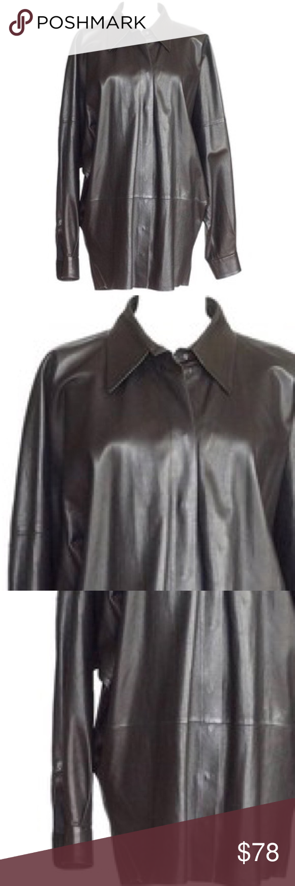 Vintage Oversized Leather Button Down Long sleeve leather collared vintage button down. Top is between L/XL please note this is an oversized look made with faux leather fabric. #vegan #vintage #black #onyx vintage Tops Button Down Shirts