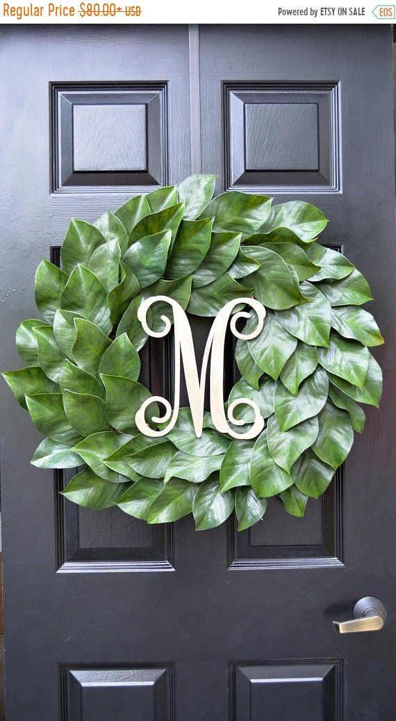 Photo of Weatherproof monogrammed magnolia wreath, magnolia leaf door wreath, fixer Upper Southern Decor All-year wreath Southern gift for her