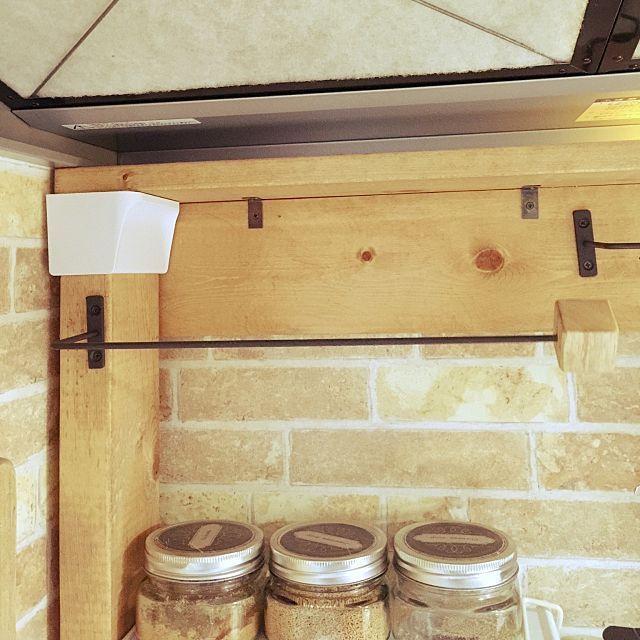 キッチン キッチンペーパーホルダー 自作 セリア アイアンバーの