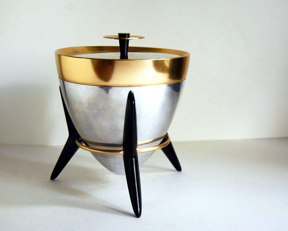 Vintage Aluminum Ice Bucket Mid Century Modern Atomic Space Age, Mad Men  Barware