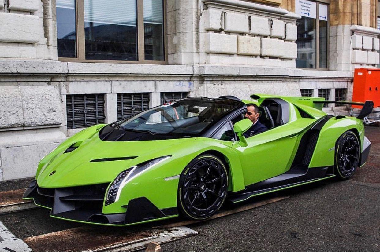 Lamborghini Veneno Roadster Painted In Verde Miura W Exposed Carbon Fiber Photo Taken By
