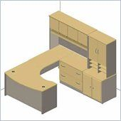Bush Series C 6 Piece U Shape Right Bow Front Desk Set In Light Oak Bsc054 603 Bush Furniture Small Office Desk