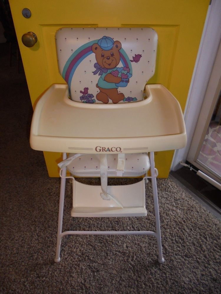 Vintage Metal High Chair With Vinyl Seat and Plastic tray ...