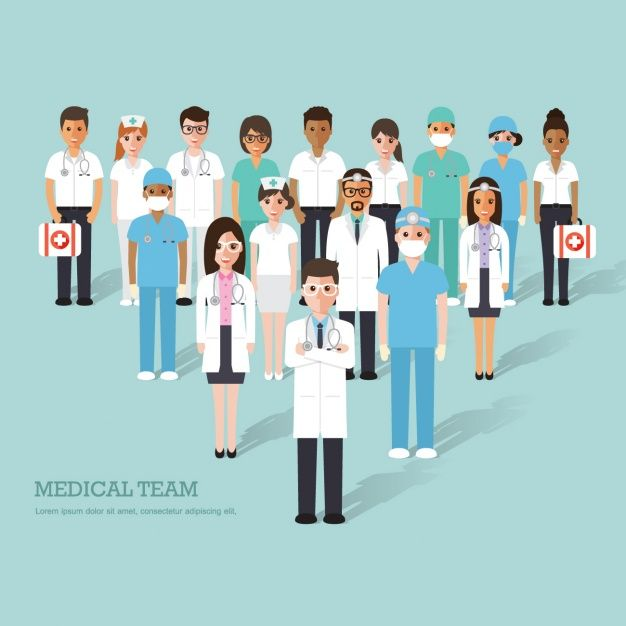 Equipo Medico Completo Fondo Azul Medicos Salud Dibujo Imagen Enfermera