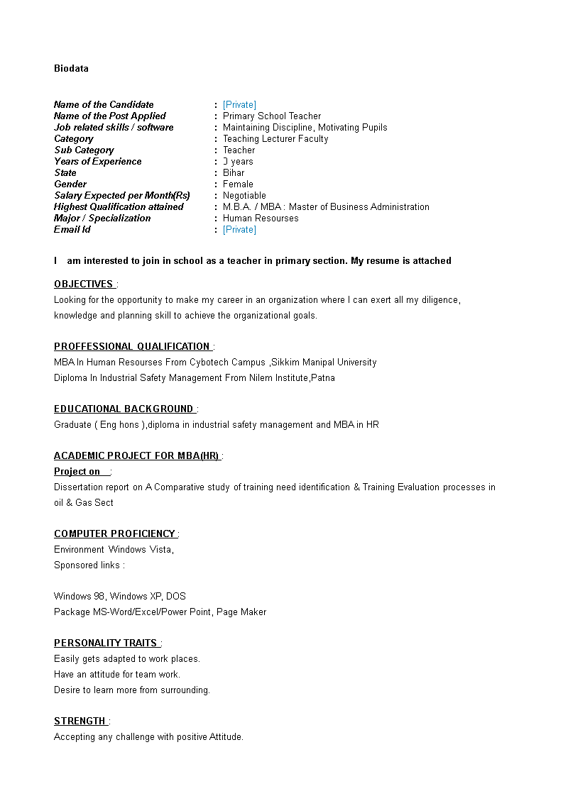 Make My Resume For Free Primary School Teacher Resume  How To Create A Primary School .