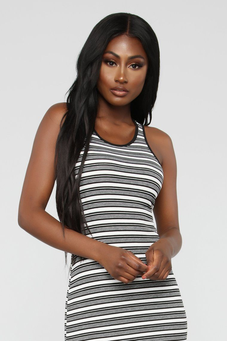 a3ea66ab347 Fan Of Stripes Ribbed Dress - Black White in 2019