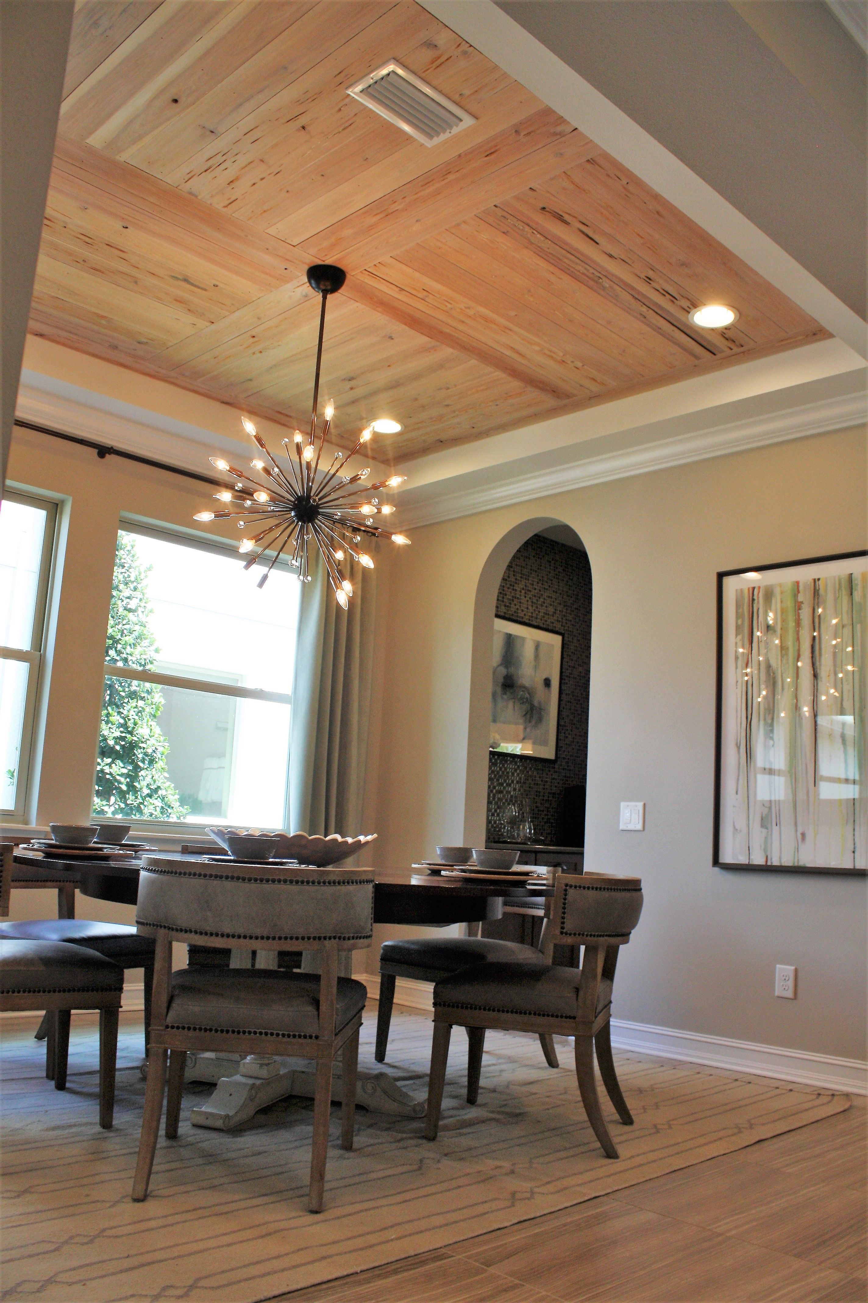 Dining room with wooden ceiling | Round wood table, Round ... on Dining Table Ceiling Design  id=40662