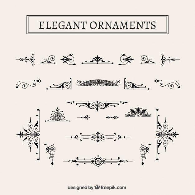 Pack de ornamentos elegantes vintage Vector Gratis | Marcos y ...