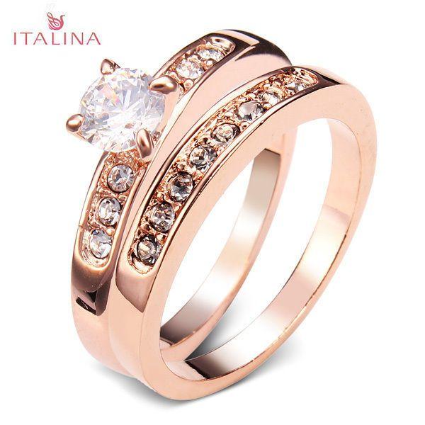 Damen Ringe Ring Swarovski Elements 18K Rose Gold Pl Geschenk Muttertag Love NEU