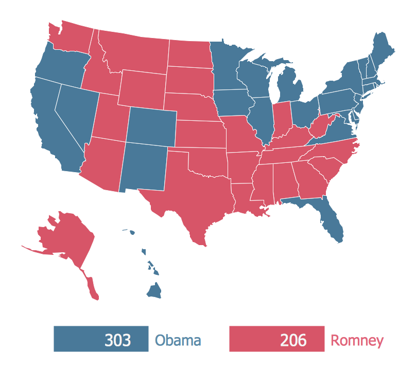 US Presidential Election Results Maps Continent Maps - Us election results state map