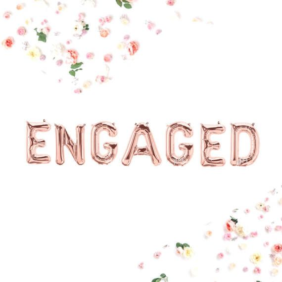Engaged Balloons Foil Gold Silver Pink  Or  Bride Letter