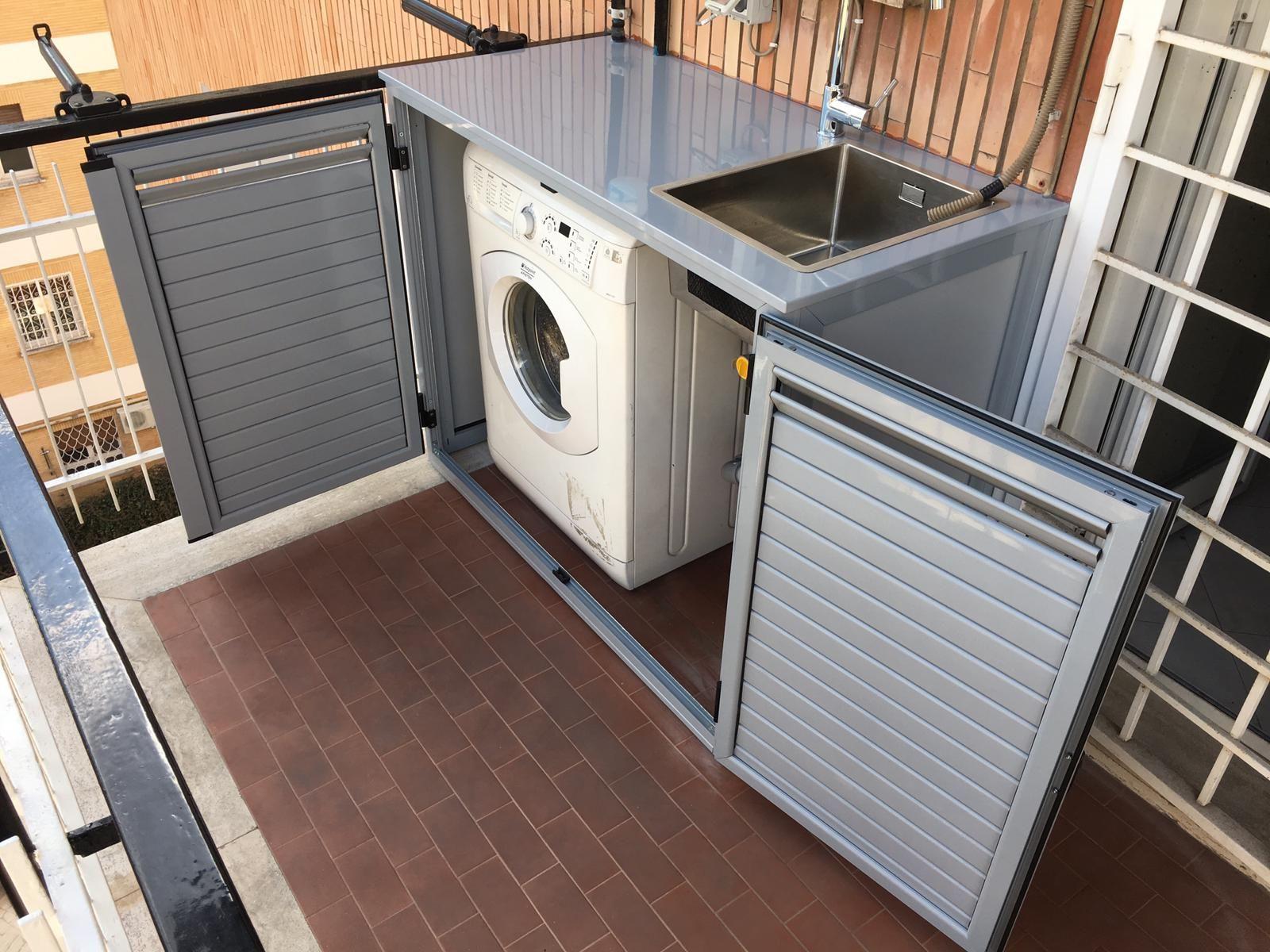 Mobile Proteggi Lavatrice Da Esterno armadi bassi in alluminio con lavandino per esterni (con