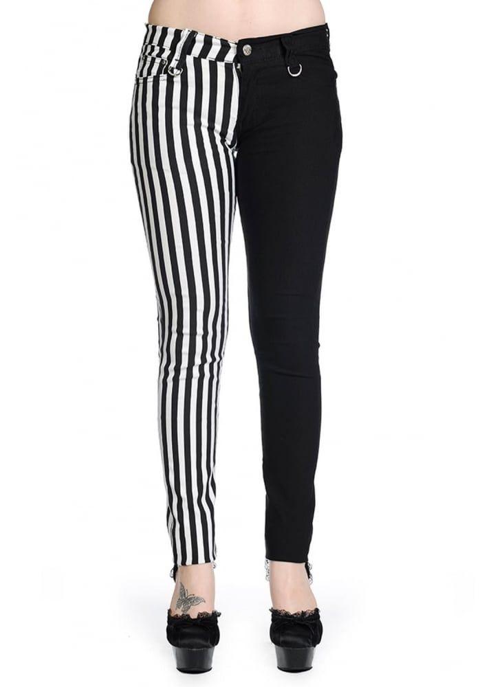 Women/'s Banned Night After Night Half Black Emo Punk Skinny Split Pants Trousers