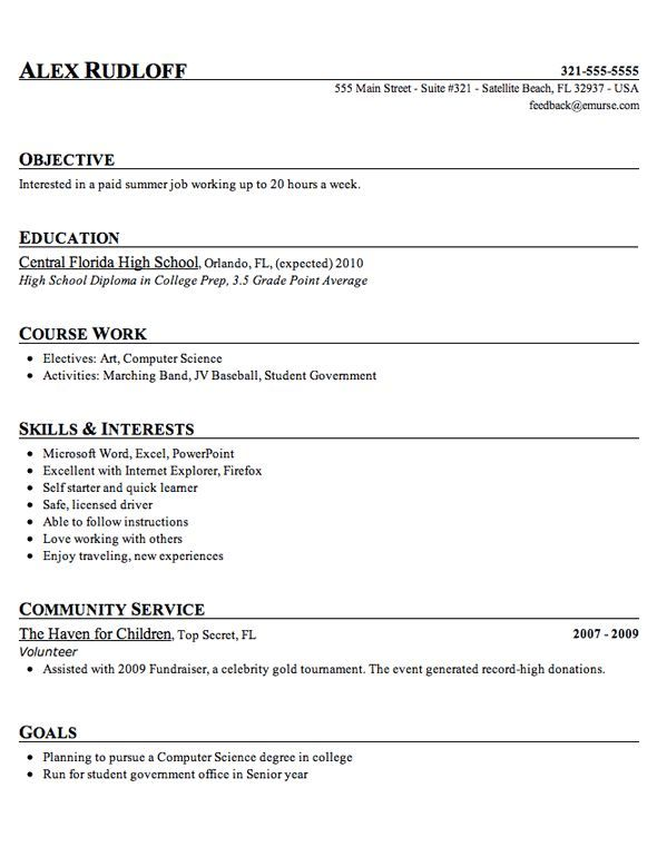 Sample High School Student Resume Example:  High School Senior Resume For College