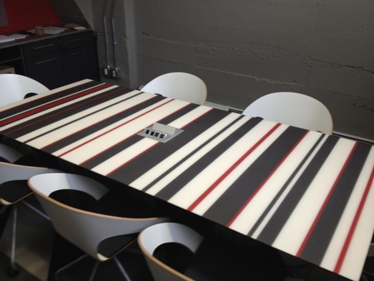 Custom Back Painted Glass Boardroom Table By Versteel.