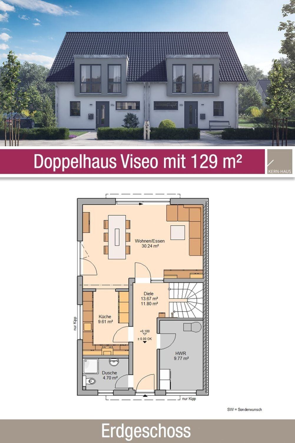 Double House Ground Plan 129 M2 4 Rooms Ground Floor In 2020 Double House Building A House House