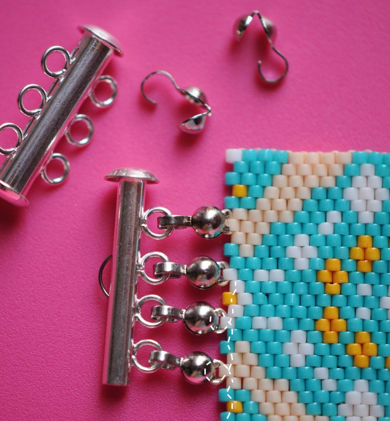 Another way to attach a multi-strand clasp to peyote bracelet. A ...