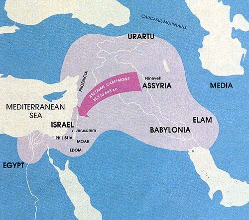 Map of the Assyrian Empire 853605 BC  History of the Middle