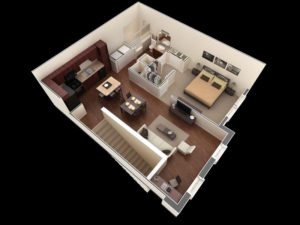 Apartamentos de un dormitorio 25 planos pinterest Diseno de interiores 3d data becker windows 7