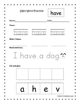 Sight Word Practice (Set 2)