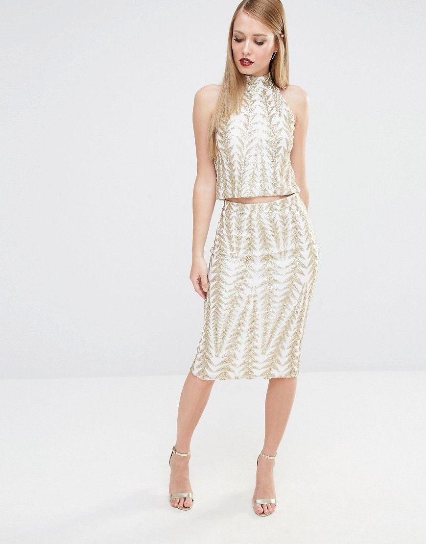 TFNC+Zig+Zag+Sequin+Midi+Skirt