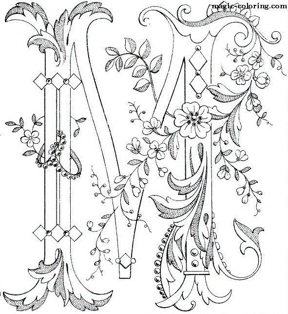 MAGIC-COLORING | Flowered Monograms (3) | monogramm ...