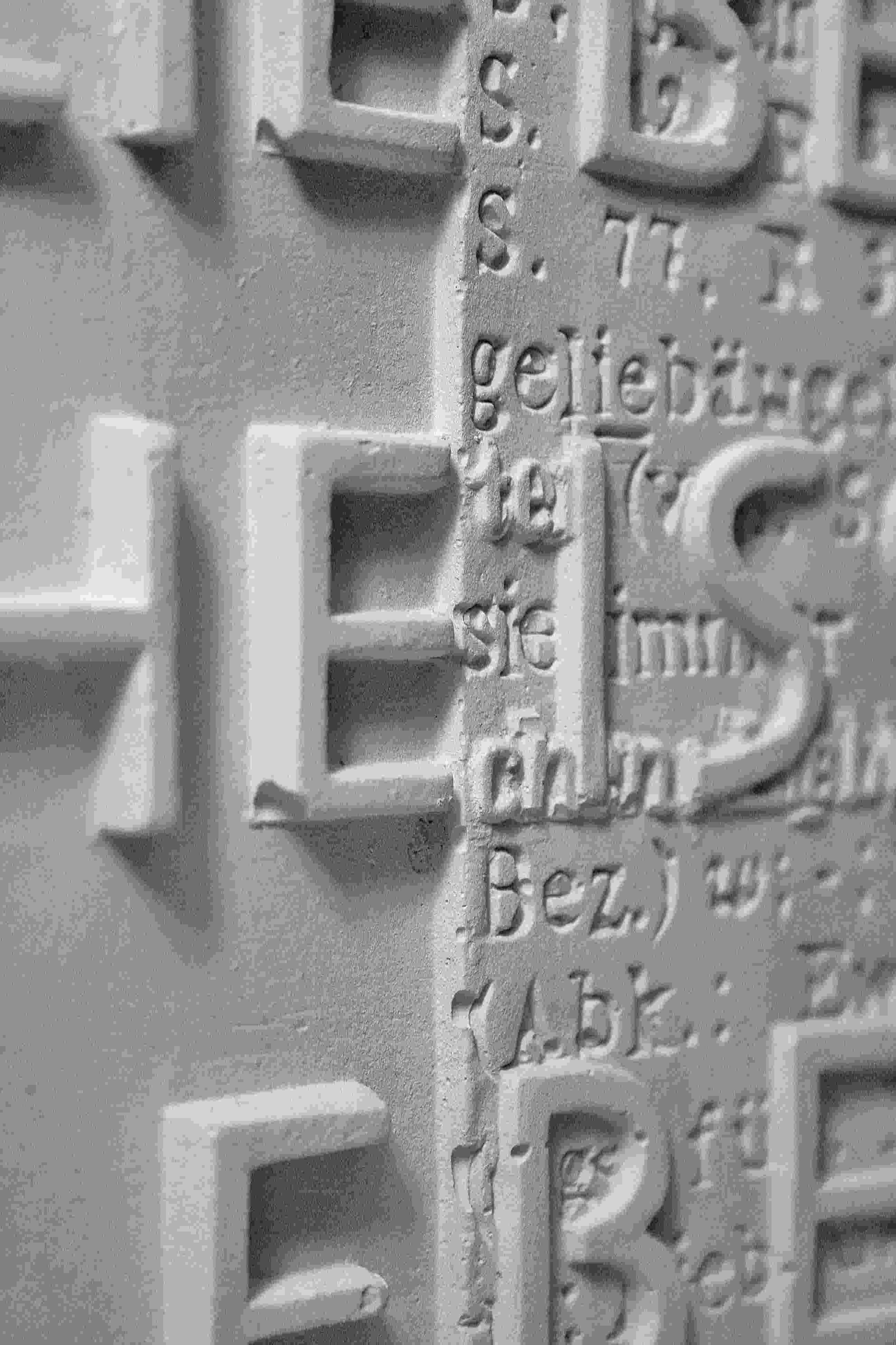 Letters in plaster