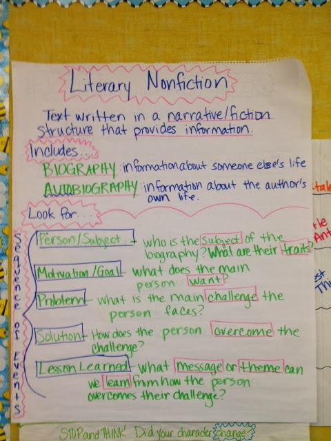 Literary nonfiction what   important in  biography also anchor chart picture only reading rh pinterest