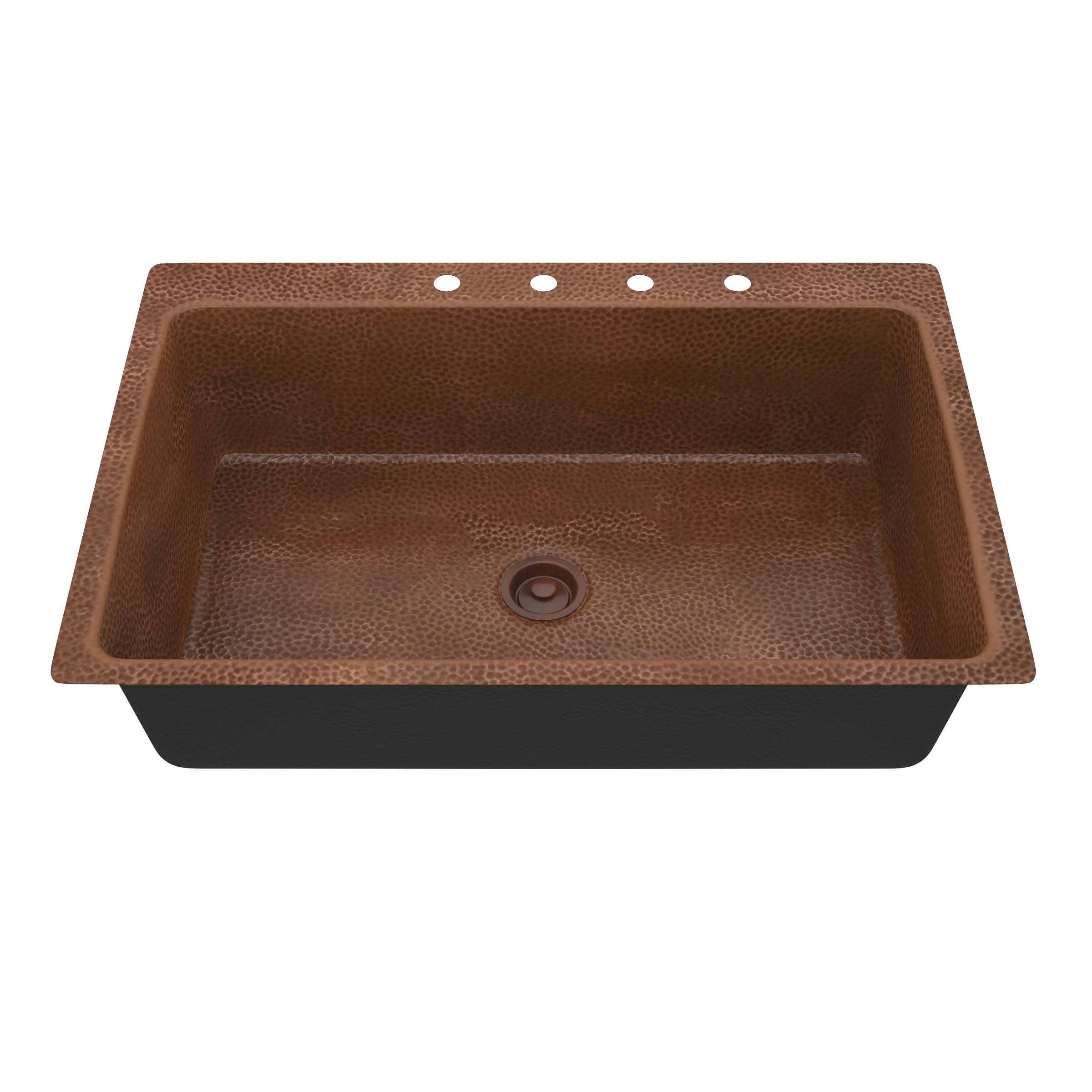 Anzzi Cliff Drop In 33 Single Bowl Kitchen Sink Hammered Copper