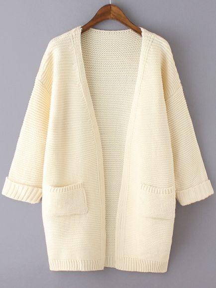 Beige Long Sleeve Pockets Knit Loose Cardigan | Beige, Shrug ...