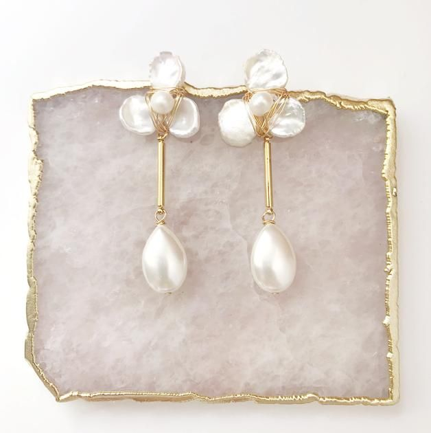 Petal Earrings with Mother Of Pearl Drop
