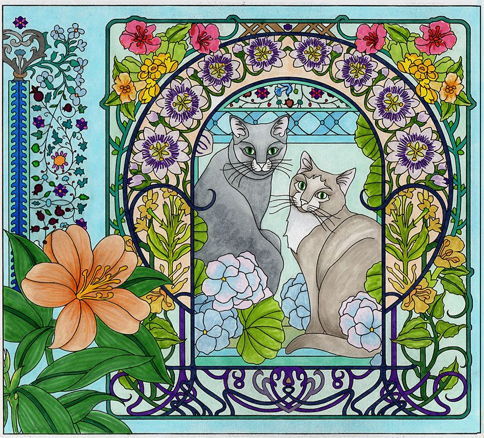 Cats from Escape Collage. Adult coloring page | Art Deco coloring ...