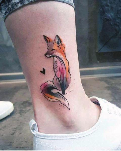 Tatuaże Damskie Lis Na Kostce Tattoos Tatuaże Mini