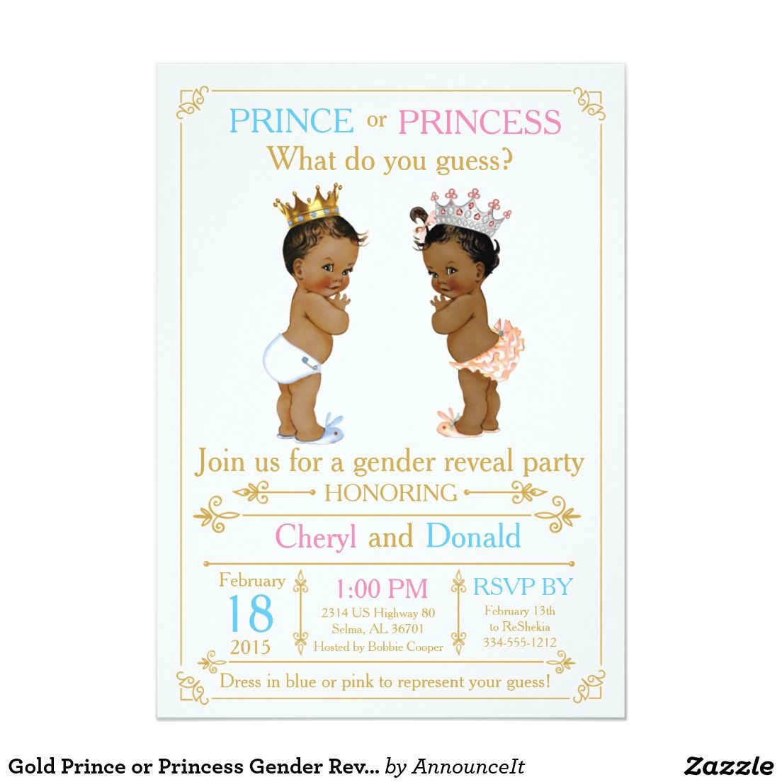 gold prince or princess gender reveal baby shower 5x7 paper invitation card