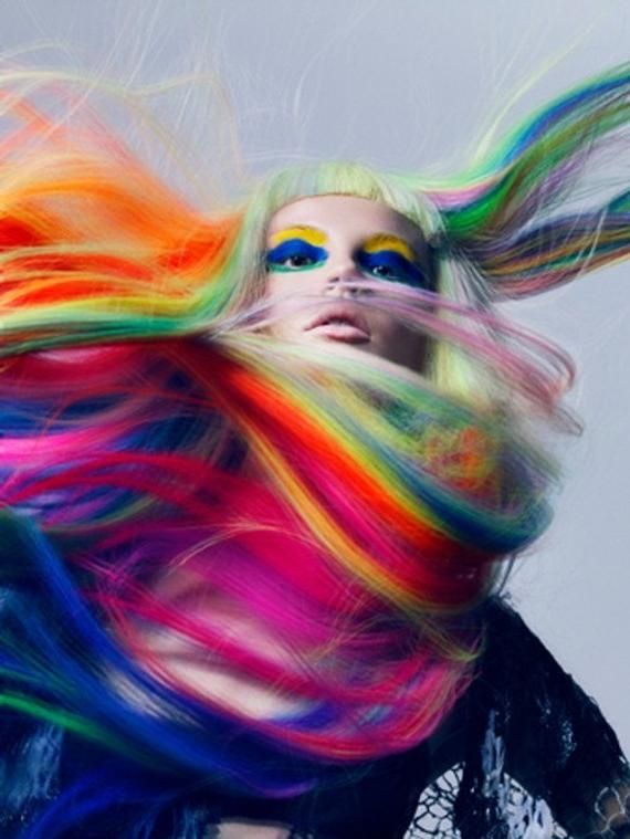 Rainbow Human Hair Extensions, Colored Hair Extens