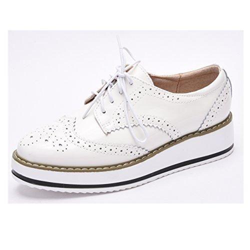 Moonwalker Zapatos con Cordones de Cuero Mujer Oxford Cuña (EUR 37 ,Blanco)