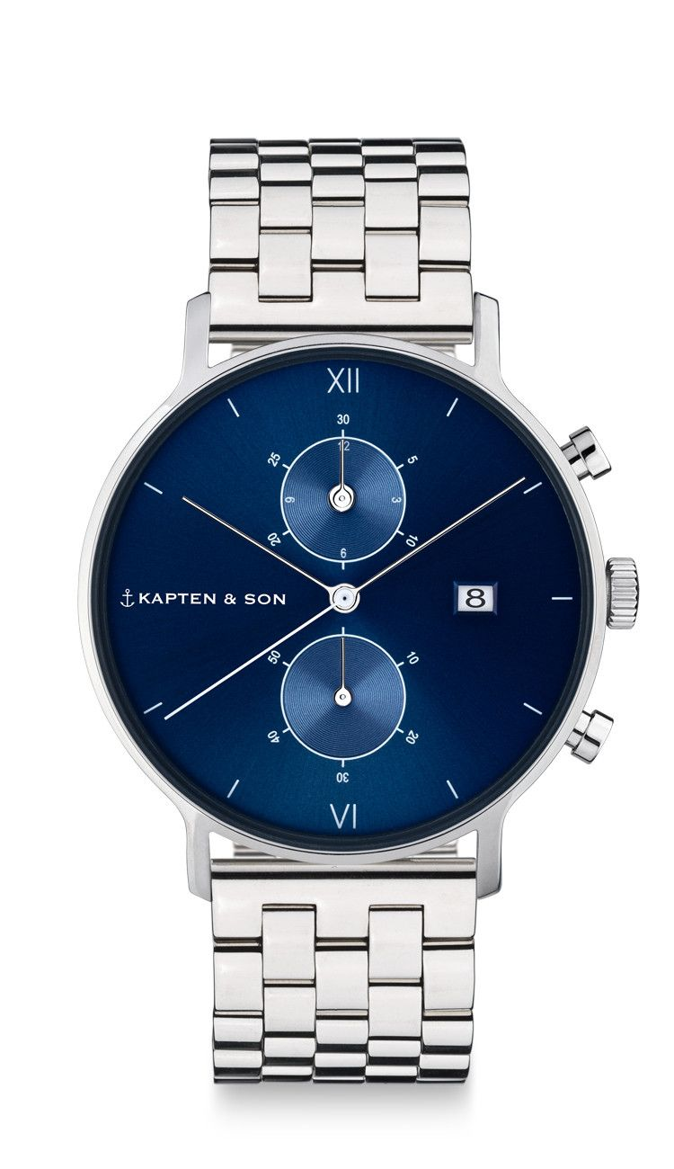 991c3fc9098b High-quality men s watch  Silver chronograph with a stainless-steel  wristband