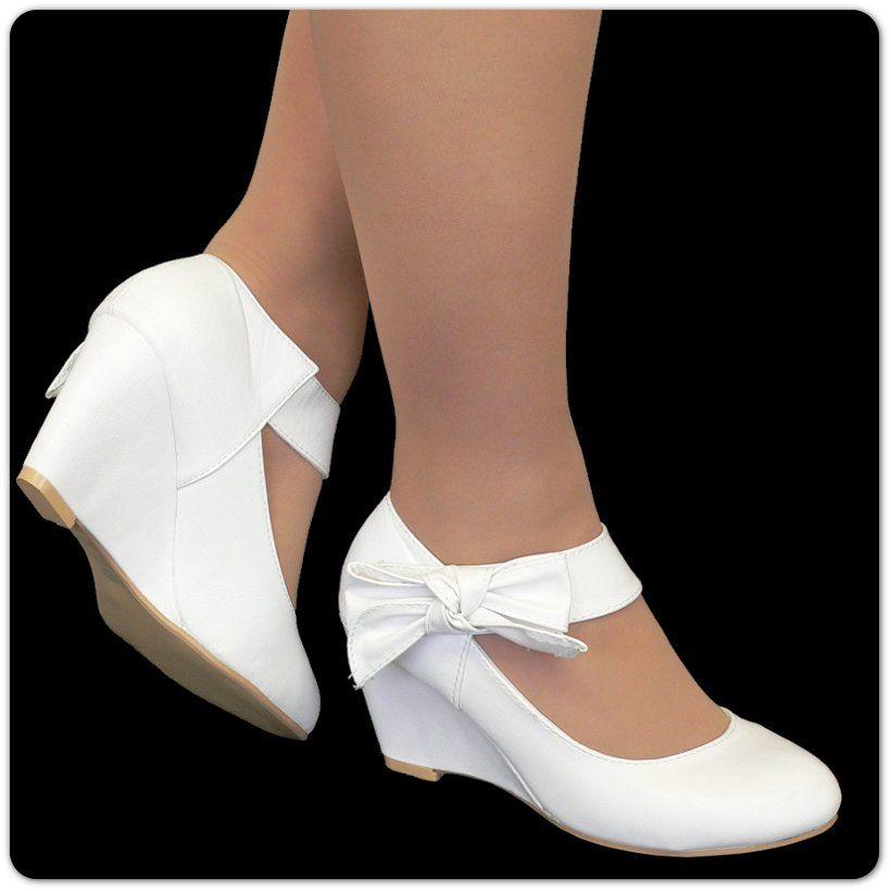 Brautschuhe Keilabsatz Damen Pumps Z43 Klett Schuhe Damen Slipper
