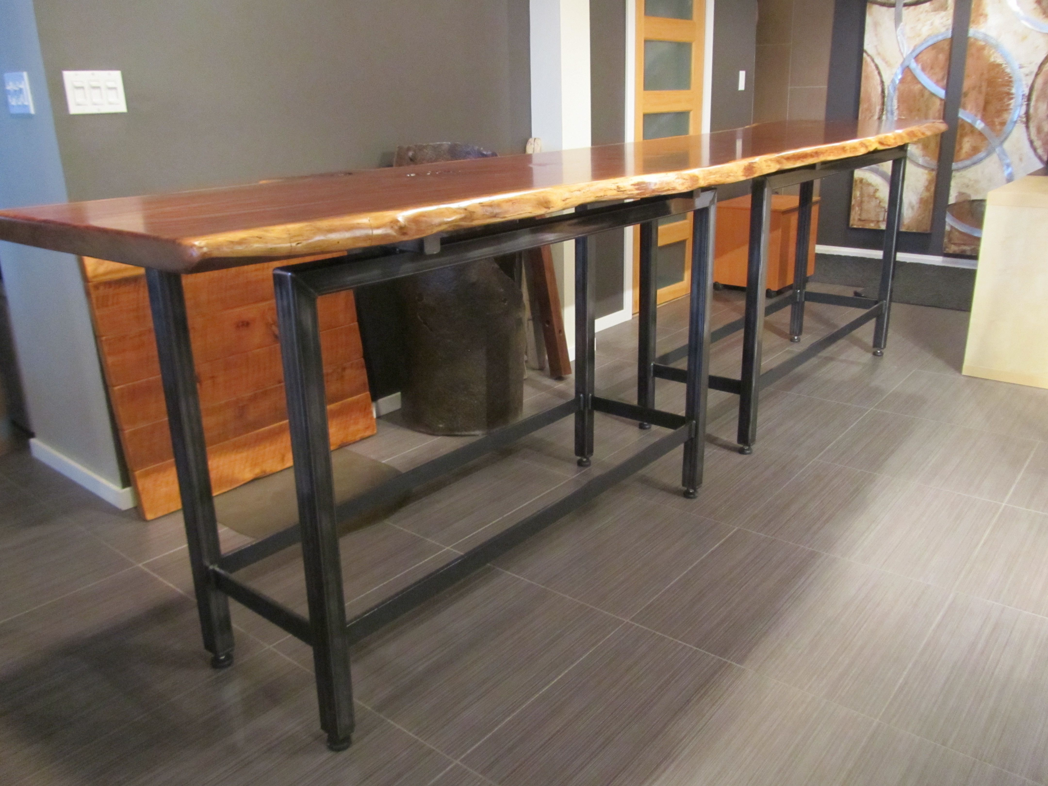 Live Edge Claro Walnut Bar Height Table With Raw Steel