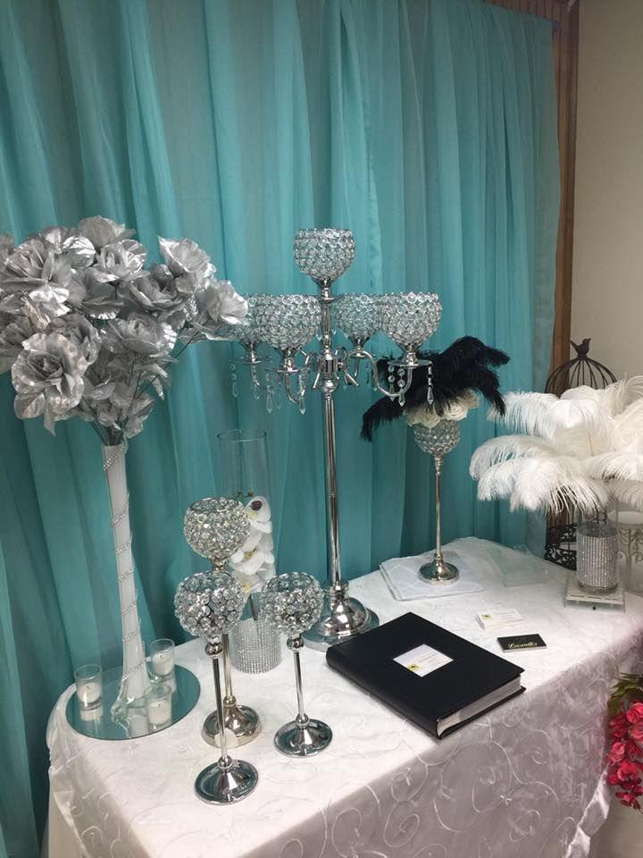 Silver Crystal 5 Cup Candelabra Centerpiece Rental Buffalo Ny