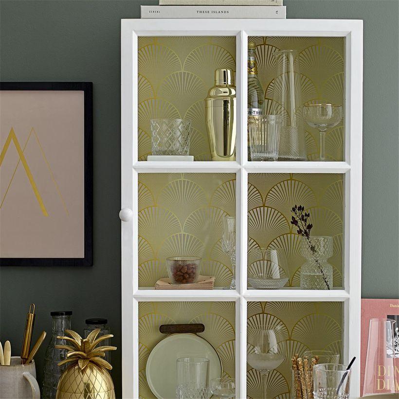 Etagère vitrine motif art déco en pin blanc Bloomingville | Art deco