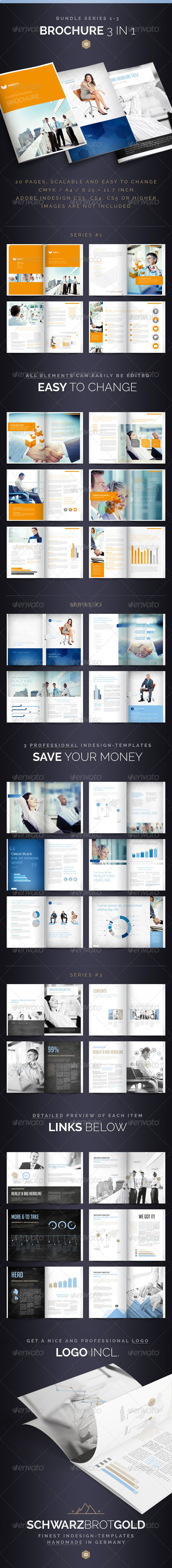 Brochure Bundle Pages Series Pinterest Corporate Brochure - 1 3 page flyer template