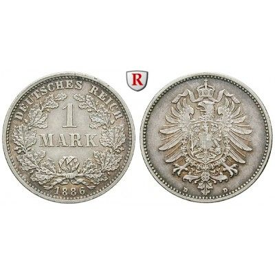 Deutsches Kaiserreich, 1 Mark 1886, D, 5,0 g fein, ss-vz, J. 9: 1 Mark 24 mm 1886 D. J. 9; sehr schön - vorzüglich 20,00€ #coins