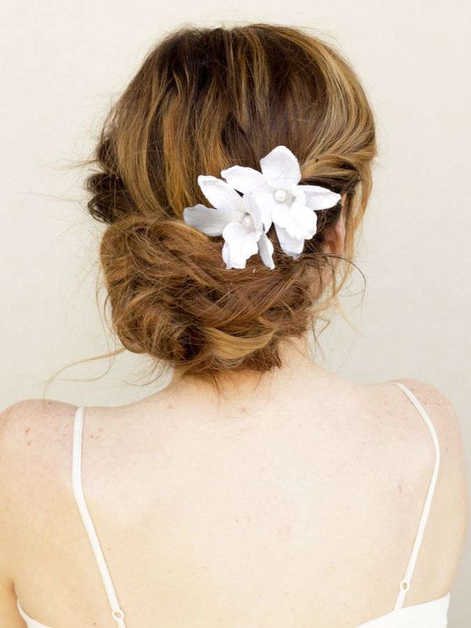 Tropical Dendrobium Orchid Hair Flower Cora White Or Ivory Bridal Hair Accessories By Hair Comes T Orchid Hair Flowers Flowers In Hair Flower Headpiece