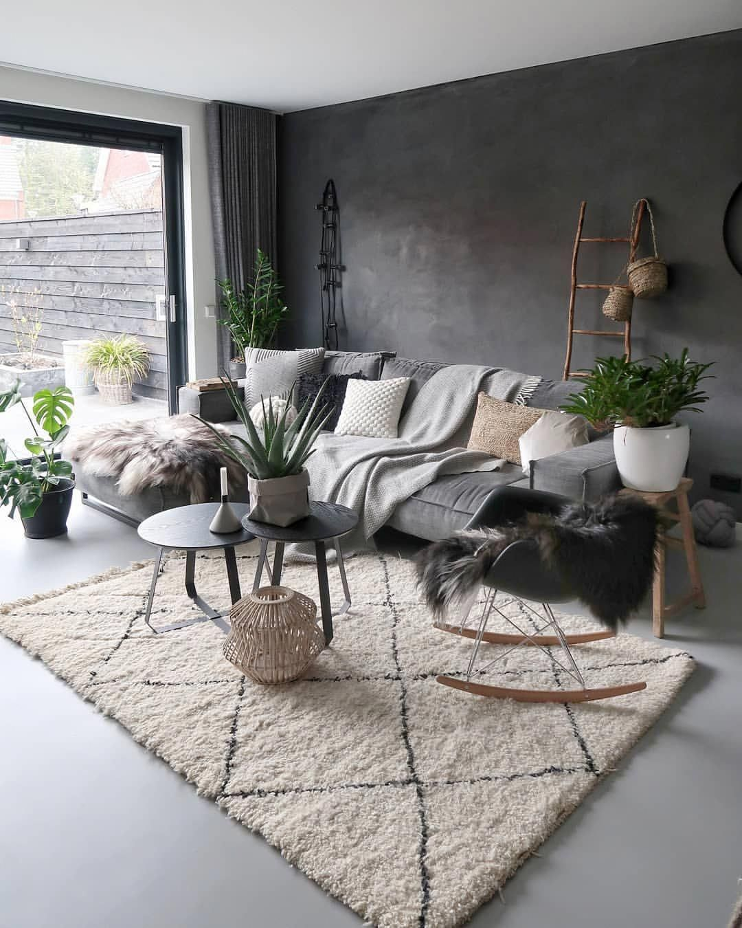 Nordic Style Living Room With White Geometric Rug Grey Sofa Plants And Cushions Contemp Living Room Decor Modern Living Room Scandinavian Rustic Living Room