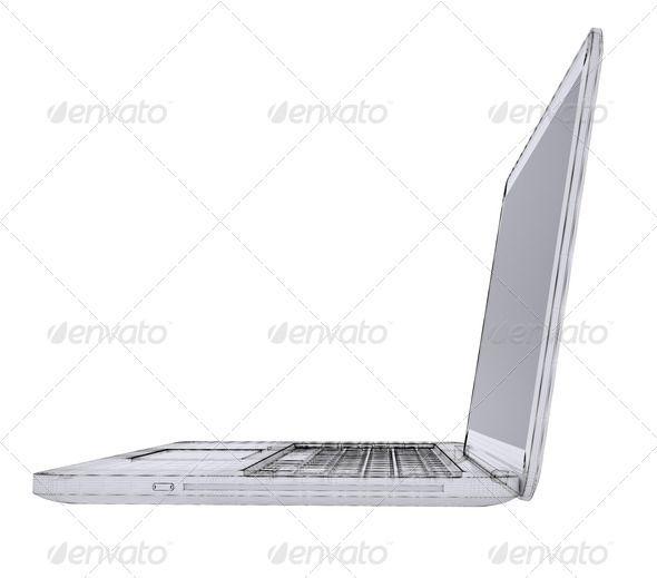 Laptop Wire frame 3d, background, blueprint, computer, concept - fresh blueprint design career