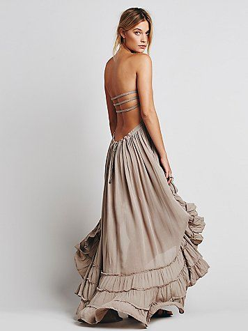 Extratropical Dress | Crinkly strapless maxi dress with a stretchy smocked bodice. Halter neck tie, with a low strappy back. Raw seam detailing on the hem. jαɢlαdy